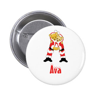 Your Name Here! Custom Letter A Teddy Bear Santas Pinback Button
