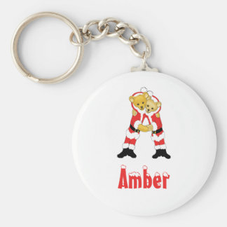 Your Name Here! Custom Letter A Teddy Bear Santas Keychain