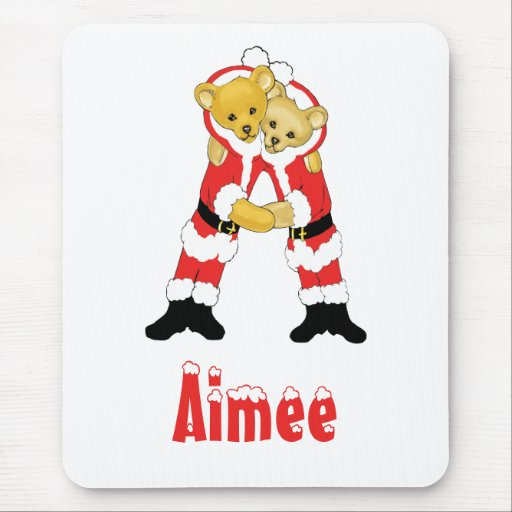 Your Name Here! Custom Letter A Teddy Bear Santas Mouse Pad