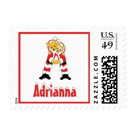 Your Name Here! Custom Letter A Teddy Bear Santas Postage