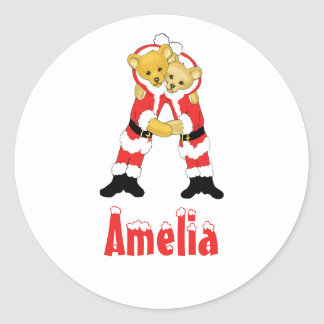 Your Name Here! Custom Letter A Teddy Bear Santas Round Stickers