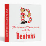 Your Name Here! Custom Letter B Teddy Bear Santas 3 Ring Binder