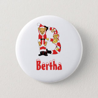 Your Name Here! Custom Letter B Teddy Bear Santas Button