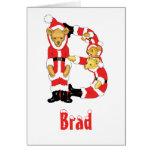 Your Name Here! Custom Letter B Teddy Bear Santas Cards