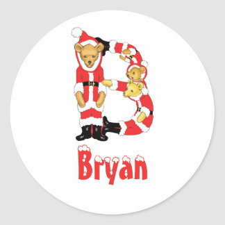 Your Name Here! Custom Letter B Teddy Bear Santas Classic Round Sticker