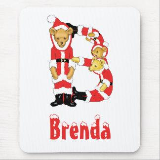 Your Name Here! Custom Letter B Teddy Bear Santas Mouse Pad