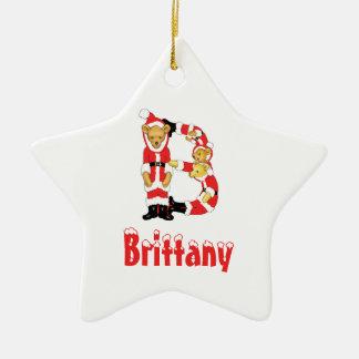 Your Name Here! Custom Letter B Teddy Bear Santas Double-Sided Star Ceramic Christmas Ornament