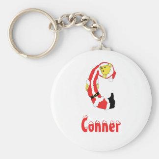 Your Name Here! Custom Letter C Teddy Bear Santas Basic Round Button Keychain