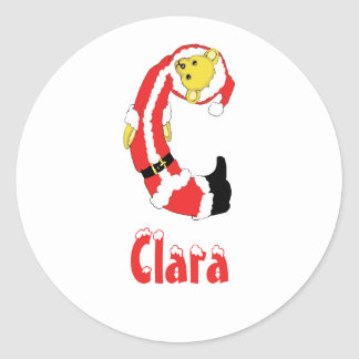 Your Name Here! Custom Letter C Teddy Bear Santas Classic Round Sticker