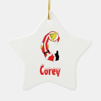Your Name Here! Custom Letter C Teddy Bear Santas Double-Sided Star Ceramic Christmas Ornament