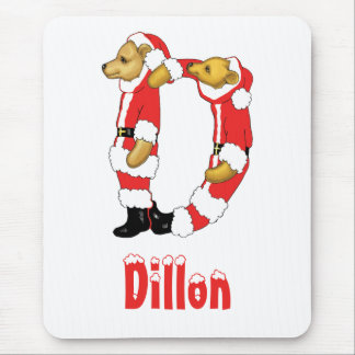 Your Name Here! Custom Letter D Teddy Bear Santas Mouse Pad