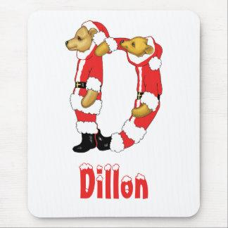 Your Name Here! Custom Letter D Teddy Bear Santas Mouse Pad
