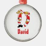 Your Name Here! Custom Letter D Teddy Bear Santas Ornament