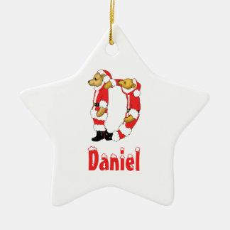 Your Name Here! Custom Letter D Teddy Bear Santas Double-Sided Star Ceramic Christmas Ornament