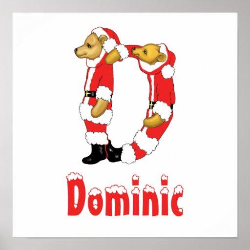 Your Name Here! Custom Letter D Teddy Bear Santas Posters