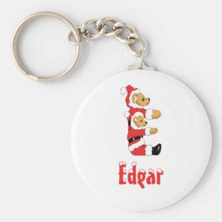 Your Name Here! Custom Letter E Teddy Bear Santas Basic Round Button Keychain