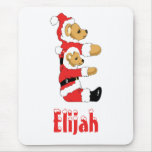 Your Name Here! Custom Letter E Teddy Bear Santas Mouse Pad