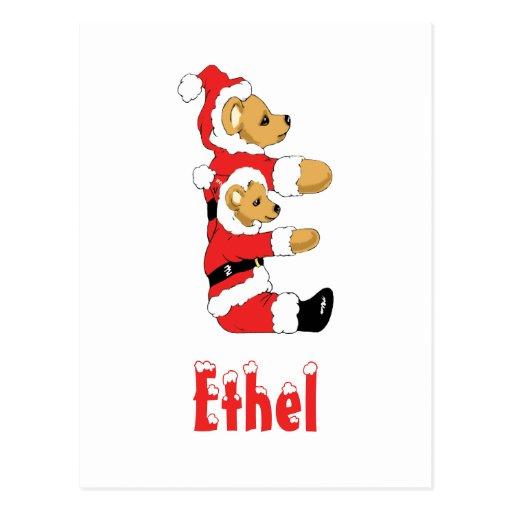 Your Name Here! Custom Letter E Teddy Bear Santas Postcard