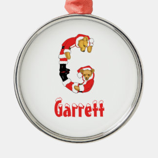 Your Name Here! Custom Letter G Teddy Bear Santas Round Metal Christmas Ornament