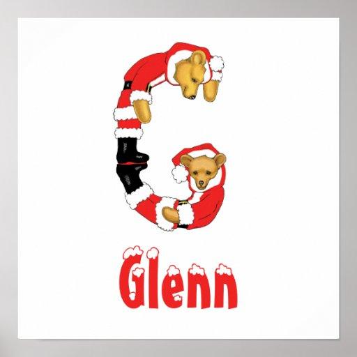 Your Name Here! Custom Letter G Teddy Bear Santas Poster