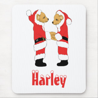 Your Name Here! Custom Letter H Teddy Bear Santas Mouse Pad