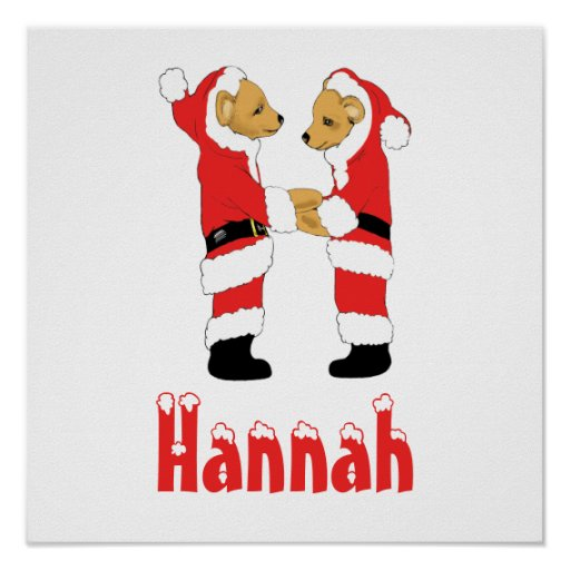 Your Name Here! Custom Letter H Teddy Bear Santas Poster