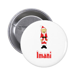 Your Name Here! Custom Letter I Teddy Bear Santas 2 Inch Round Button