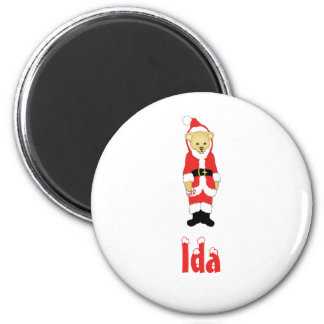 Your Name Here! Custom Letter I Teddy Bear Santas 2 Inch Round Magnet