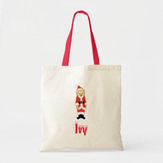 Your Name Here! Custom Letter I Teddy Bear Santas Budget Tote Bag