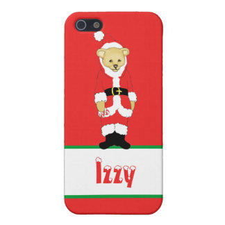 Your Name Here! Custom Letter I Teddy Bear Santas Cases For iPhone 5