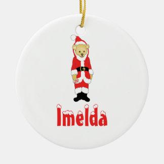 Your Name Here! Custom Letter I Teddy Bear Santas Double-Sided Ceramic Round Christmas Ornament