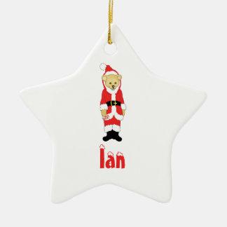 Your Name Here! Custom Letter I Teddy Bear Santas Double-Sided Star Ceramic Christmas Ornament