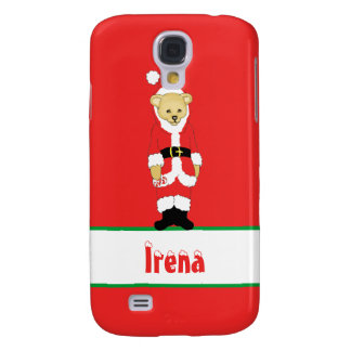 Your Name Here! Custom Letter I Teddy Bear Santas Galaxy S4 Covers