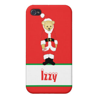 Your Name Here! Custom Letter I Teddy Bear Santas iPhone 4/4S Case