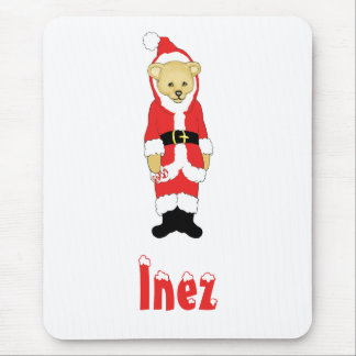 Your Name Here! Custom Letter I Teddy Bear Santas Mouse Pad