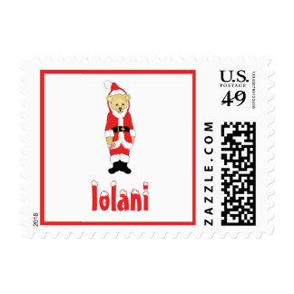 Your Name Here! Custom Letter I Teddy Bear Santas Postage Stamp