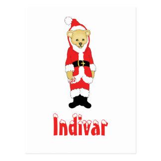Your Name Here! Custom Letter I Teddy Bear Santas Postcard