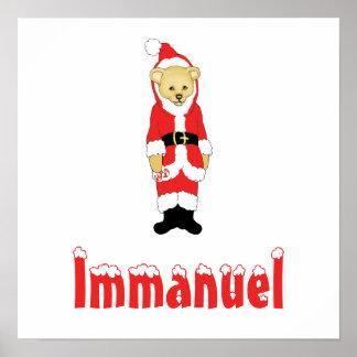 Your Name Here! Custom Letter I Teddy Bear Santas Poster