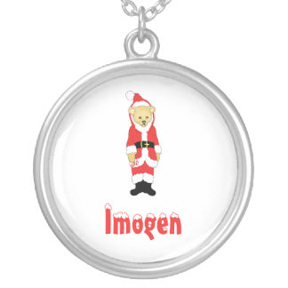Your Name Here! Custom Letter I Teddy Bear Santas Round Pendant Necklace
