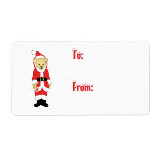 Your Name Here! Custom Letter I Teddy Bear Santas Shipping Label
