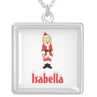 Your Name Here! Custom Letter I Teddy Bear Santas Square Pendant Necklace