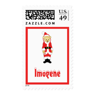 Your Name Here! Custom Letter I Teddy Bear Santas Stamps