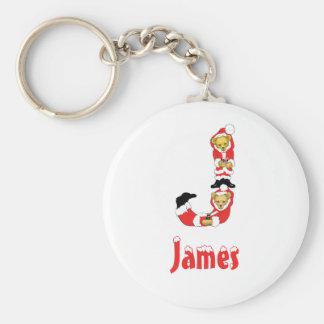 Your Name Here! Custom Letter J Teddy Bear Santas Basic Round Button Keychain