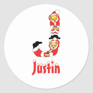 Your Name Here! Custom Letter J Teddy Bear Santas Classic Round Sticker