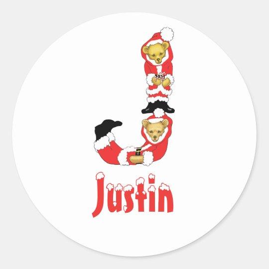 Your Name Here! Custom Letter J Teddy Bear Santas Classic Round Sticker