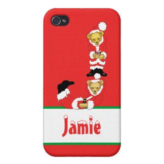 Your Name Here! Custom Letter J Teddy Bear Santas Case For iPhone 4