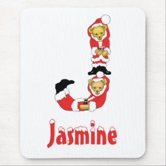 Your Name Here! Custom Letter J Teddy Bear Santas Mouse Pad