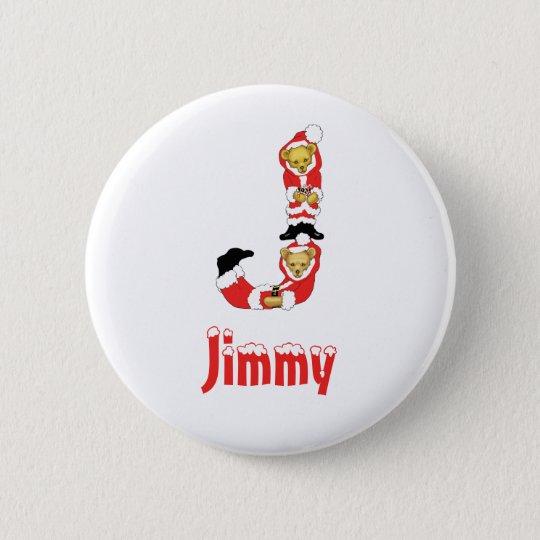 Your Name Here! Custom Letter J Teddy Bear Santas Pinback Button