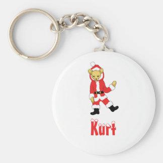 Your Name Here! Custom Letter K Teddy Bear Santas Basic Round Button Keychain