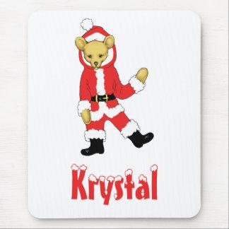 Your Name Here! Custom Letter K Teddy Bear Santas Mouse Pad